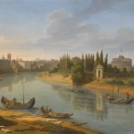 Gaspar van Wittel (attr.), Rome, a view of the river Tiber at the porto della Legna looking towards Castel Sant'Angelo, with Saint Peter's basilica in the distance