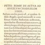 Pietro Bembo, Incipit of De Aetna ad Angelum Gabrielem liber