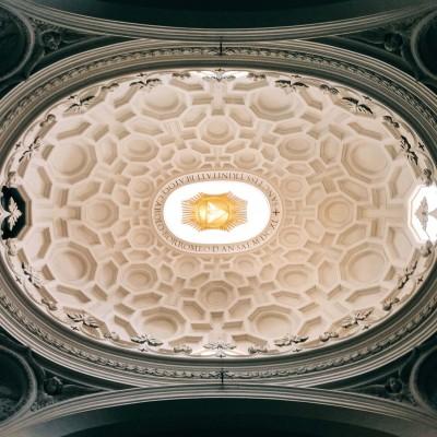 """Francesco Borromini, dome interior of the chiesa di San Carlo alle Quattro Fontane, also called """"San Carlino"""""""