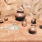 "Mixture ceramic paraphernalia and miniaturized paraphernalia made of bronze thin sheet, fourth room of Civitas religiosa, Museo Civico Archeologico ""Lavinium"", Pomezia (RM)"