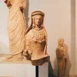 "Terracotta veiled female statue, from the votive store related to the Minerva sanctuary, dating to the 4th century BC, first room of Tritonia Virgo, Museo Civico Archeologico ""Lavinium"", Pomezia (RM)"