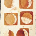 Galileo Galilei, Sepia-wash drawings of the moon phases, ca. 1609, Florence, Biblioteca Nazionale Centrale di Firenze