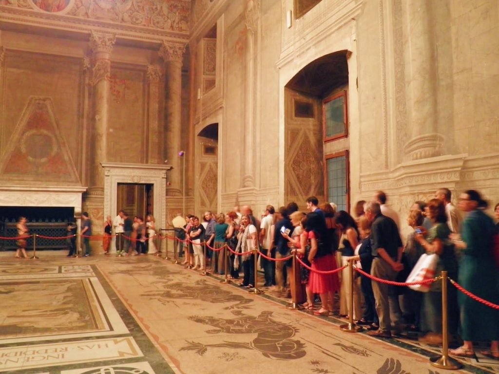 "Sala del Mappamondo, belonging to the monumental halls visited during the tour by night of Palazzo Venezia in Rome, guided by the museum director Sonia Martone, on the occasion of ""Il giardino ritrovato"" initiative on 2016 summer nights"