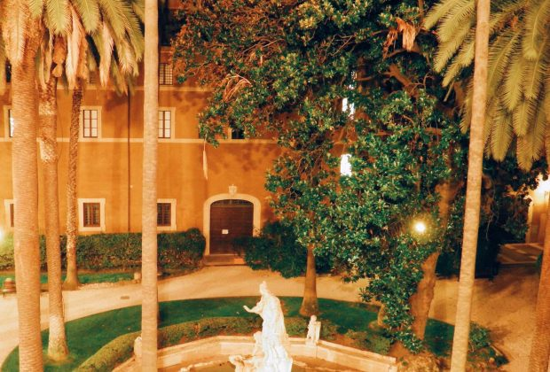 "The recently restored and opened courtyard of Palazzo Venezia in Rome, on the occasion of ""Il giardino ritrovato"" initiative on 2016 summer nights"