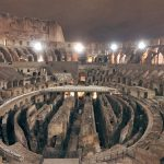 Interior of the Colosseum at night