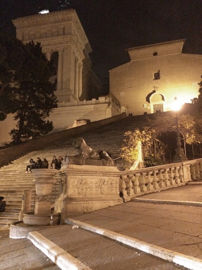 The Aracoeli staircase in Rome, today.
