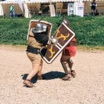 Ancient Roman gladiatorial fight, featuring at the historical camp set in April 20-22, 2018 at Circus Maximus, during the celebrations of the founding of Rome, in Italy called Natale di Roma