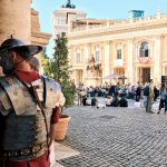 "Roman soldier from the ""Coronation of Rome goddess"" event on the 20th of April 2018 at piazza del Campidoglio to start the celebrations of the founding of Rome, in Italy called Natale di Roma"