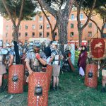 Ancient Roman legions from the final historical re-enactment of the ancient battles in Britannia, featuring at the historical camp set in April 20-22, 2018 at Circus Maximus, during the celebrations of the founding of Rome, in Italy called Natale di Roma