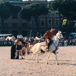 Ancient Roman horse races, featuring at the historical camp set in April 20-22, 2018 at Circo Maximus, during the celebrations of the founding of Rome, in Italy called Natale di Roma