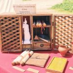 Ancient Roman writing tools featuring at the historical camp set in April 20-22, 2018 at Circus Maximus, during the celebrations of the founding of Rome, in Italy called Natale di Roma