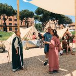Ancient Roman characters at the historical camp set in April 20-22, 2018 at Circus Maximus, during the celebrations of the founding of Rome, in Italy called Natale di Roma