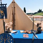 Ancient Roman Praetorian guard's tent featuring at the historical camp set in April 20-22, 2018 at Circus Maximus, during the celebrations of the founding of Rome, in Italy called Natale di Roma
