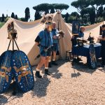 Ancient Roman Praetorian guard's tent featuring at the historical camp set in April 20-23, 2018 at Circus Maximus, during the celebrations of the founding of Rome, in Italy called Natale di Roma