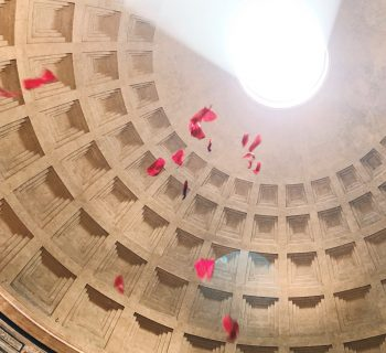 The red rose petals falling down, on the occasion of the Pentecost ceremony at the Pantheon in Rome