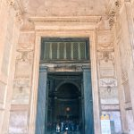 The entrance to the monument, on the occasion of the Pentecost ceremony at the Pantheon in Rome