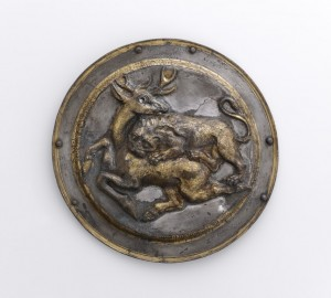 Phalera with Relief of Lion Attacking a Stag, Near East, Parthia, 2nd century BC, silver with gilding (9 x 12.6) cm, The Getty Villa.