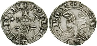 Denarius, AR Grosso (3.31 g). Second emission, circa 1251-1265, Italy, Papal States, Roman Senate. Inscriptions: + SENATVS • P • Q • R •, lion passant left; + ROMA CAP'. MUNDI, Roma enthroned facing, holding globe and palm. Classical Numismatic Group, Inc., via Wikimedia Commons.