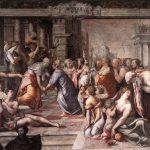 Francesco Salviati, Detail of the Visitation (Visitazione), 1538, mural painting before restoration works (2005-2014), Rome, San Giovanni Decollato, Oratory