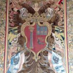 Tapestry depicting a coat of arms with Colonna and Pamphilj emblems referring to the marriage between Filippo II Colonna and Olimpia Pamphilj around 1695, 17th century