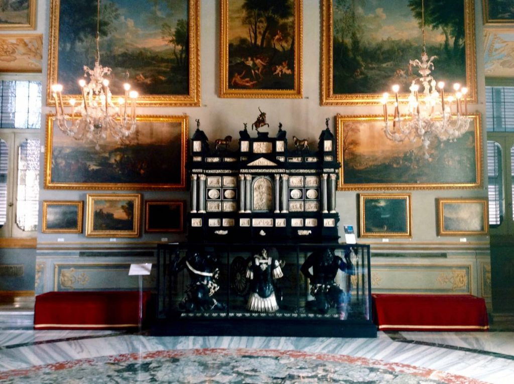 Franz and Dominikus Steinhart, following a project by Carlo Fontana, Chest made of ebony and ivory, 17th century, Sala dei Paesaggi