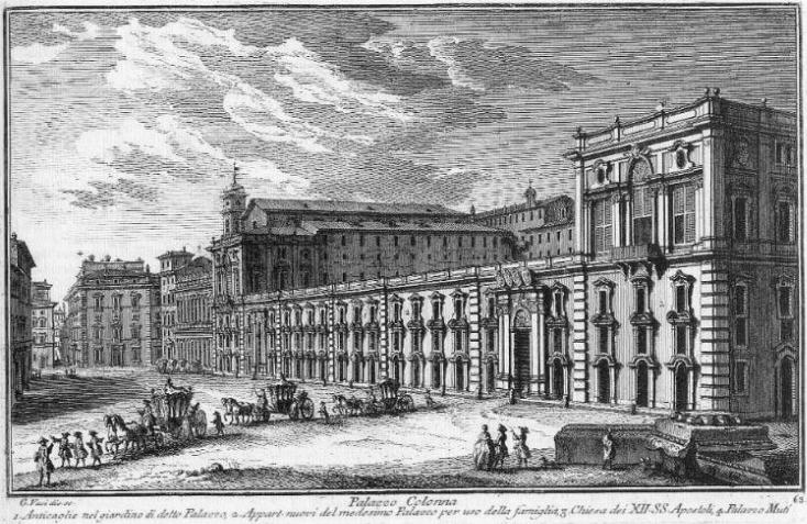 Palazzo Colonna, engraving from G. Vasi and G. Bianchini, Delle magnificenze di Roma antica e moderna libro quarto, 1754