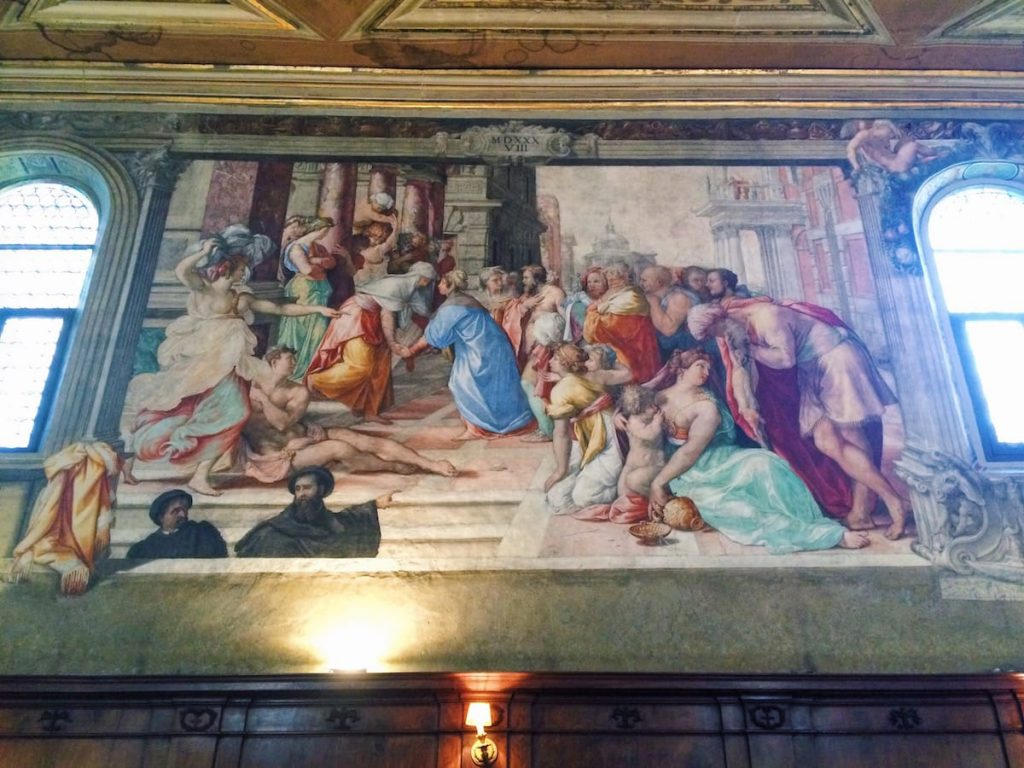 Francesco Salviati, The Visitation (Visitazione), 1538, right wall at the Oratory of San Giovanni Decollato, Rome