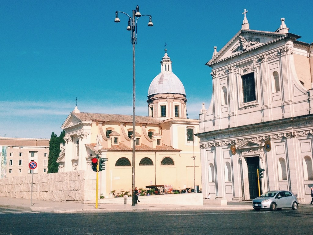 Chiesa di San Girolamo degli Illirici next to chiesa di San Rocco in piazza del Porto di Ripetta in Rome, at present.