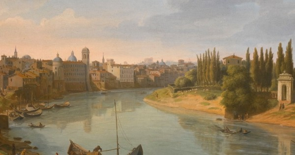 Gaspar van Wittel (attr.), Rome, a view of the river Tiber