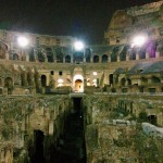 The interior of the Colosseum viewed from the arena.