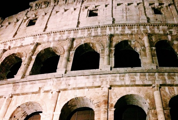 The exterior of the Colosseum by night, Rome.