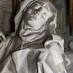 Cleaning tests on the statue of Saint Teresa
