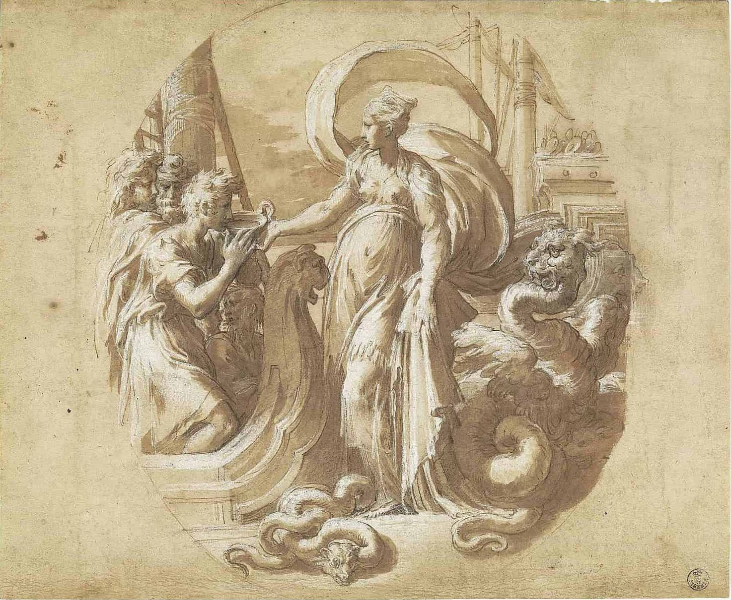 Francesco Mazzola called il Parmigianino, Circe offering drink to the companions of Ulysses