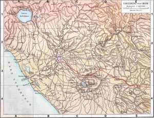 Plan of Latium with the highlighted via Latina from G. Droysens, Allgemeiner Historischer Handatlas, 1886