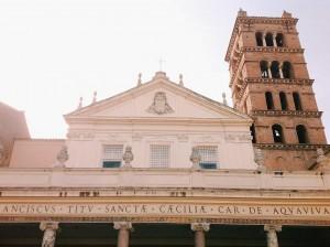 The basilica di Santa Cecilia in Trastevere façade