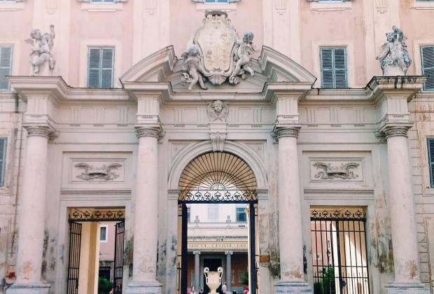Entrance portal of the basilica di Santa Cecilia in Trastevere complex