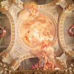 "The Toilette of Venus, painting by Francesco Gai and assistants, ceiling of Brancaccio princes' alcove room, Museo Nazionale d'Arte Orientale ""Giuseppe Tucci"", Rome."