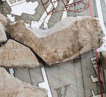 Forma Urbis Romae, Vatican fragment, ca. 203-211 AD, proconnesio marble, Musei in Comune, Rome