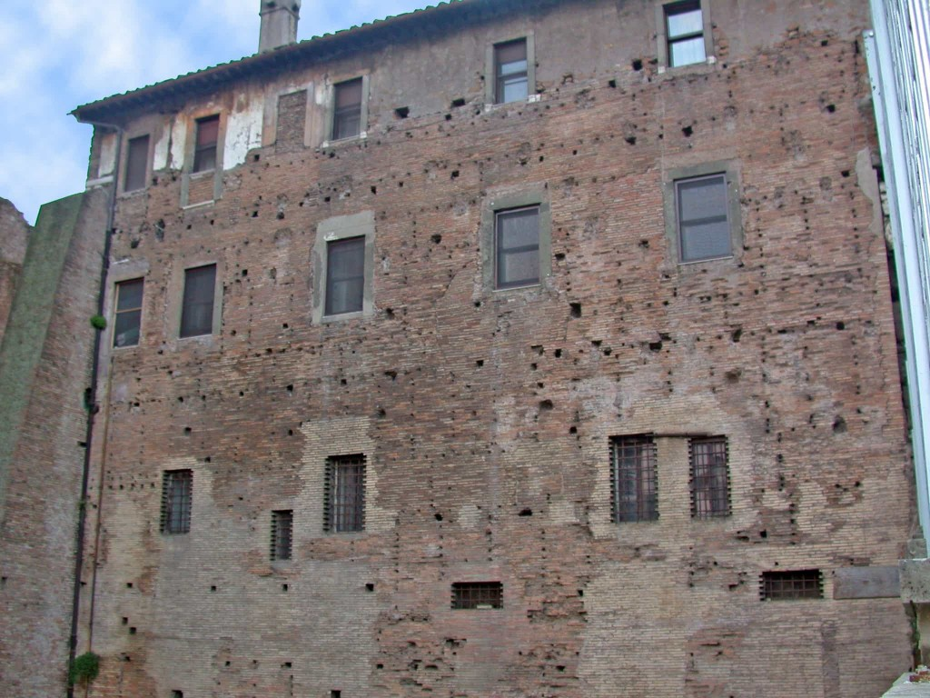 Wall once belonging to the Forum Pacis, now incorporated into the complex of the basilica dei Santi Cosma e Damiano, Rome.