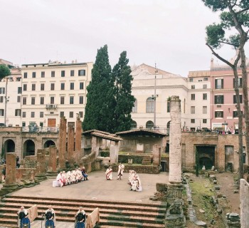 Historical re-enactment of Caesar's assassination at the Area Sacra di Largo di Torre Argentina, Rome