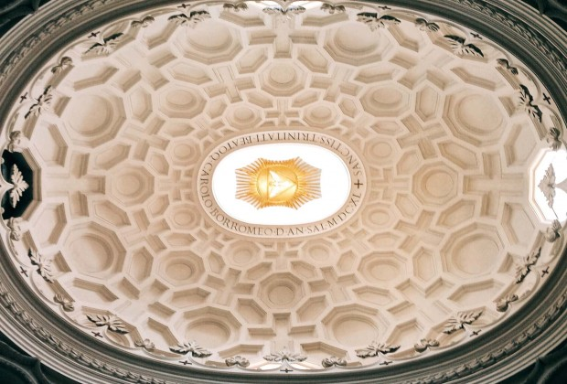 "Francesco Borromini, dome interior of the chiesa di San Carlo alle Quattro Fontane, also called ""San Carlino"""