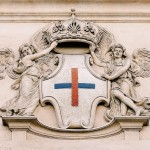 Detail with a stone emblem of the Trinitarian Order, exterior of the San Carlo alle Quattro Fontane complex