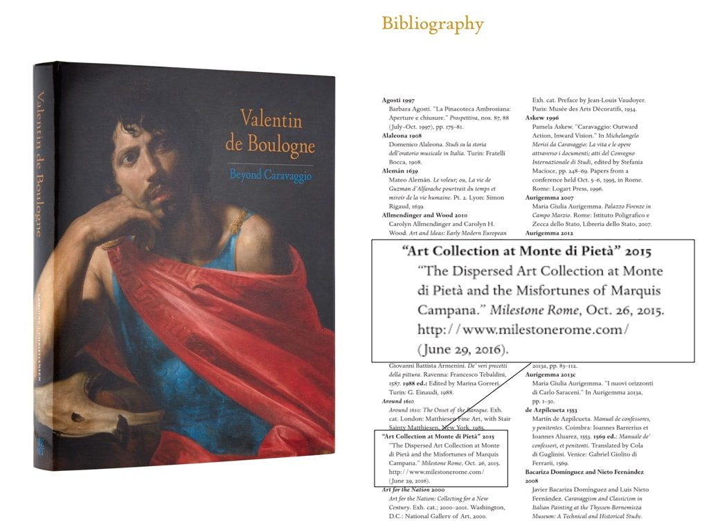 "Milestone Rome's article cited in ""Valentin de Boulogne: Beyond Caravaggio"" exhibition catalogue by the Met museum"