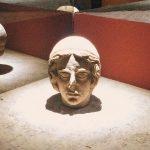 "Votive terracotta head coming from the store of Minerva sanctuary at Lavinium, second room of Mundus muliebris, Museo Civico Archeologico ""Lavinium"", Pomezia (RM)"