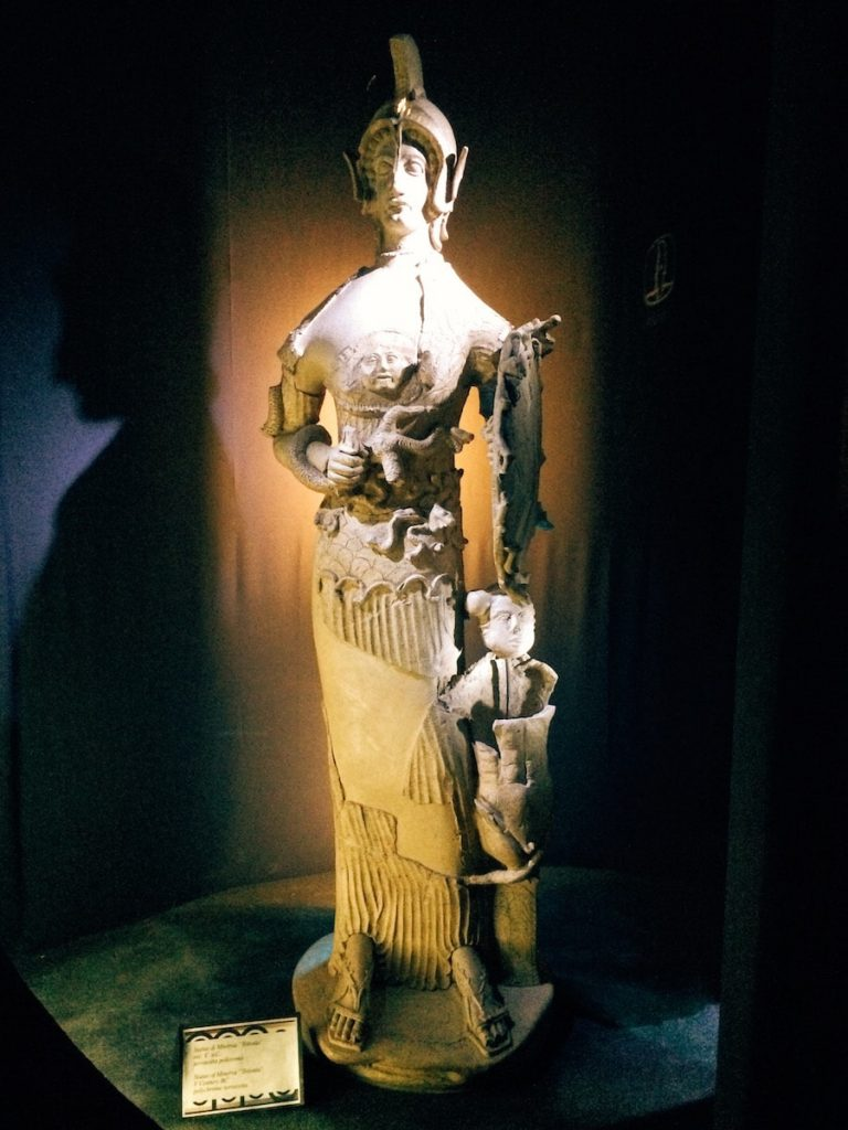 "Terracotta statue of Minerva Tritonia, from the Minerva sanctuary, dating to the 5th century BC, first room of Tritonia Virgo, Museo Civico Archeologico ""Lavinium"", Pomezia (RM)"