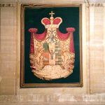 Doria Pamphilj coat of arms, tapestry, Courtyard at Palazzo Doria Pamphilj, Rome