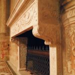 "Fireplace of Sala del Mappamondo, belonging to the monumental halls visited during the tour by night of Palazzo Venezia in Rome, guided by the museum director Sonia Martone, on the occasion of ""Il giardino ritrovato"" initiative on 2016 summer nights"