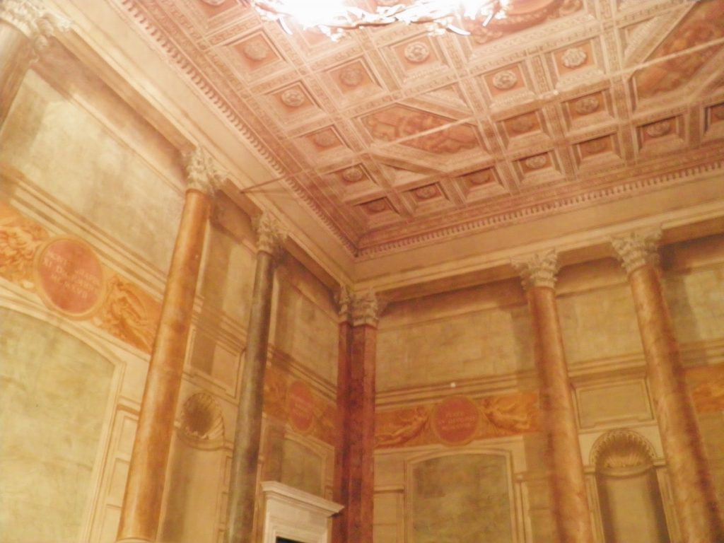 "Sala del Concistoro o delle Battaglie, belonging to the monumental halls visited during the tour by night of Palazzo Venezia in Rome, guided by the museum director Sonia Martone, on the occasion of ""Il giardino ritrovato"" initiative on 2016 summer nights"