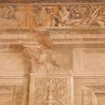 Detail of the painting decoration at the Sala regia, belonging to the monumental halls visited during the tour by night of Palazzo Venezia in Rome