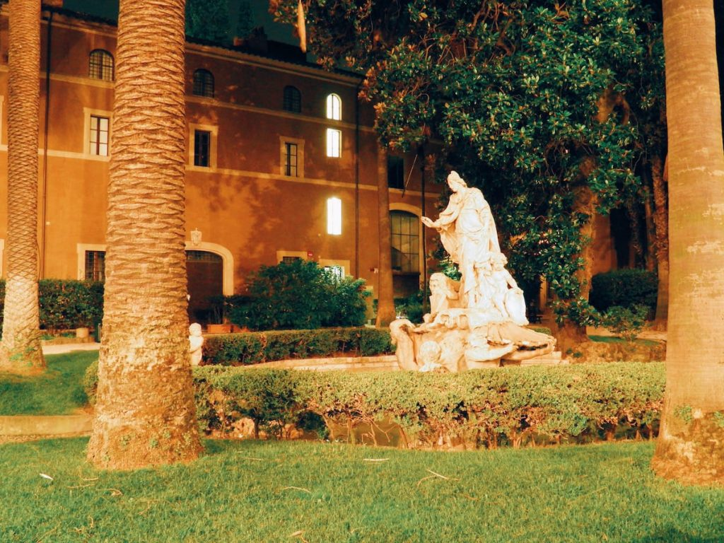 """The recently restored and opened courtyard of Palazzo Venezia in Rome, on the occasion of """"Il giardino ritrovato"""" initiative on 2016 summer nights"""